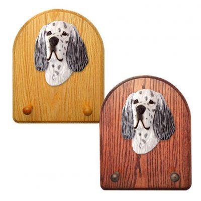 English Setter Dog Wooden Oak Key Leash Rack Hanger Blue 1