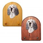 English Setter Dog Wooden Oak Key Leash Rack Hanger Blue