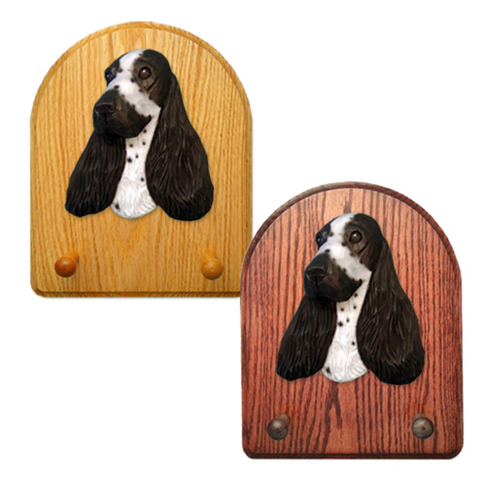 English Cocker Spaniel Dog Wooden Oak Key Leash Rack Hanger Blue Roan