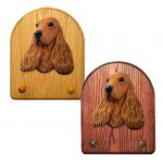 English Cocker Spaniel Dog Wooden Oak Key Leash Rack Hanger Red Fawn 1