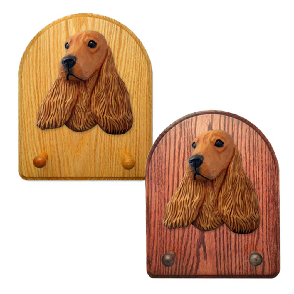 English Cocker Spaniel Dog Wooden Oak Key Leash Rack Hanger Red Fawn