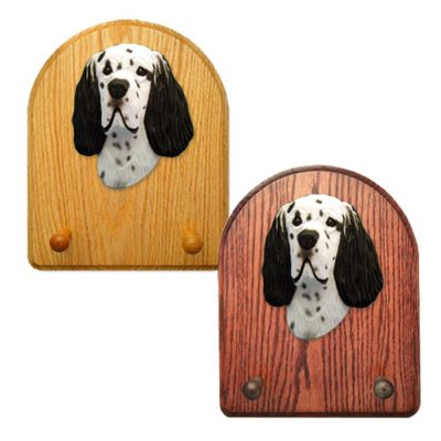 English Setter Dog Wooden Oak Key Leash Rack Hanger Black 1