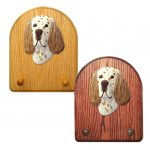 English Setter Dog Wooden Oak Key Leash Rack Hanger Liver