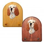 English Setter Dog Wooden Oak Key Leash Rack Hanger Orange