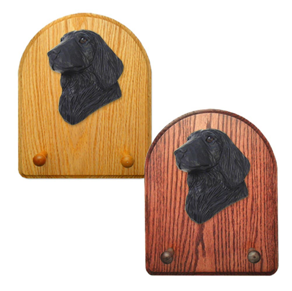 Flat Coated Retriever Dog Wooden Oak Key Leash Rack Hanger Black
