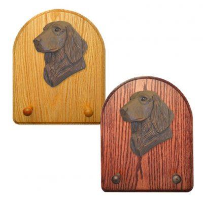 Flat Coated Retriever Dog Wooden Oak Key Leash Rack Hanger Brown 1