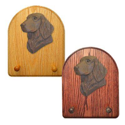 Flat Coated Retriever Dog Wooden Oak Key Leash Rack Hanger Brown