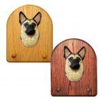 German Shepherd Dog Wooden Oak Key Leash Rack Hanger Tan/Black 1