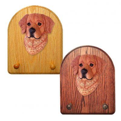 Golden Retriever Dog Wooden Oak Key Leash Rack Hanger Dark 1