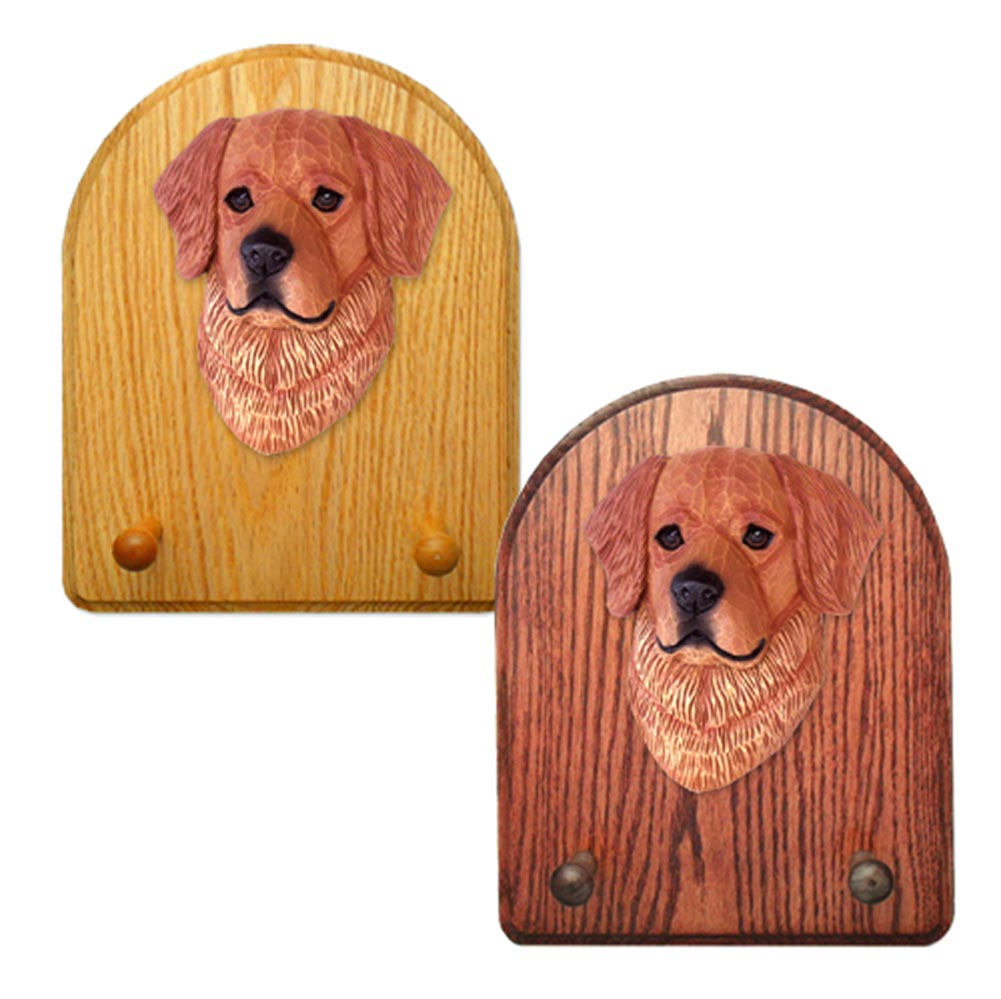 Golden Retriever Dog Wooden Oak Key Leash Rack Hanger Dark