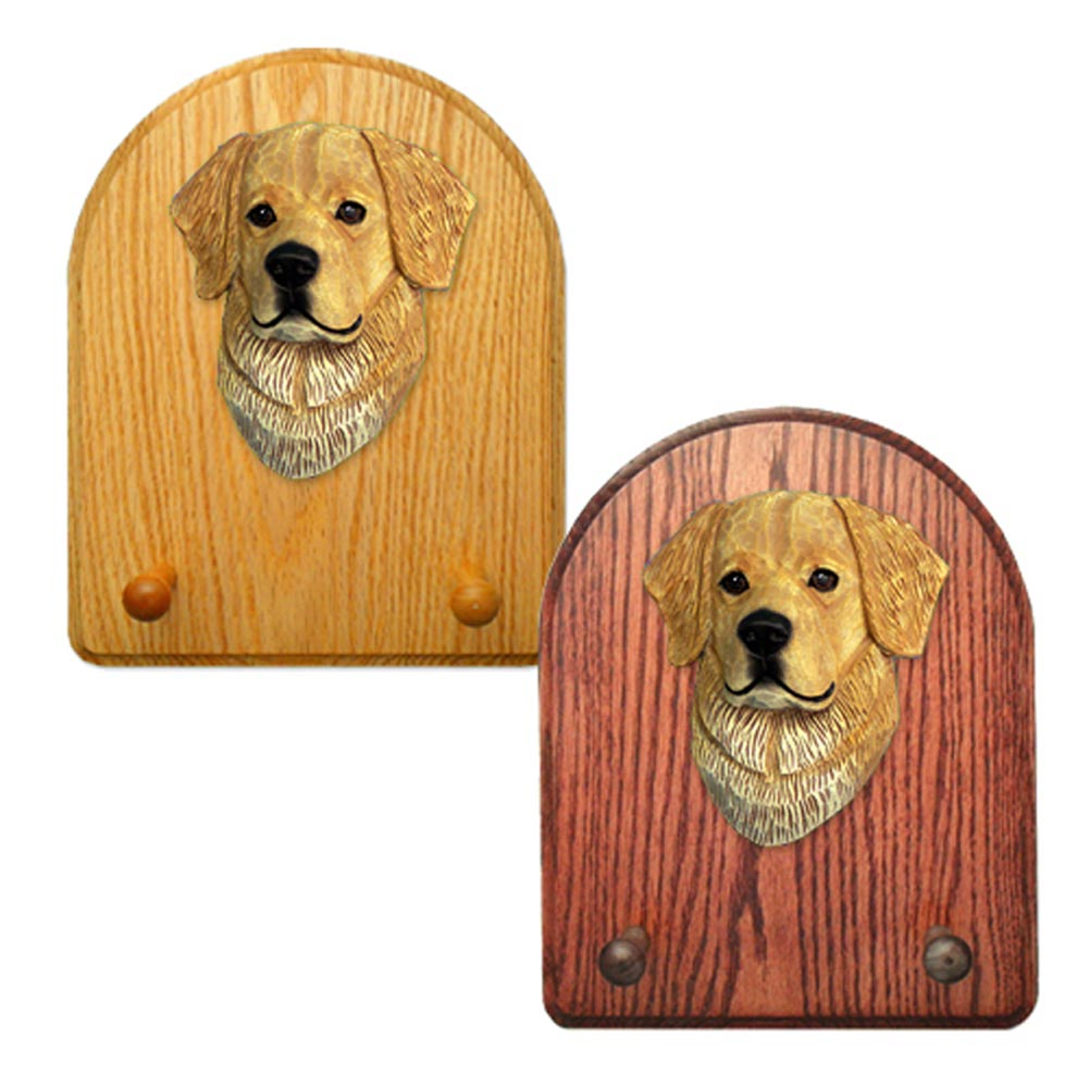 Golden Retriever Dog Wooden Oak Key Leash Rack Hanger Light