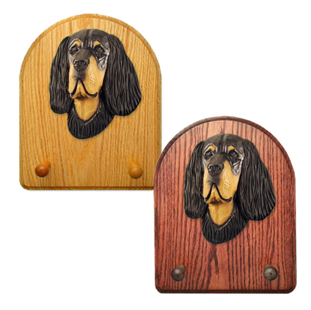 Gordon Setter Dog Wooden Oak Key Leash Rack Hanger