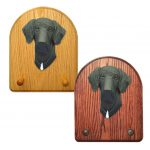 Great Dane Dog Wooden Oak Key Leash Rack Hanger Black Uncropped
