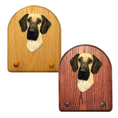 Great Dane Dog Wooden Oak Key Leash Rack Hanger Fawn Uncropped 1