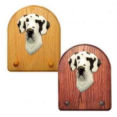 Great Dane Dog Wooden Oak Key Leash Rack Hanger Harlequin Uncropped 1