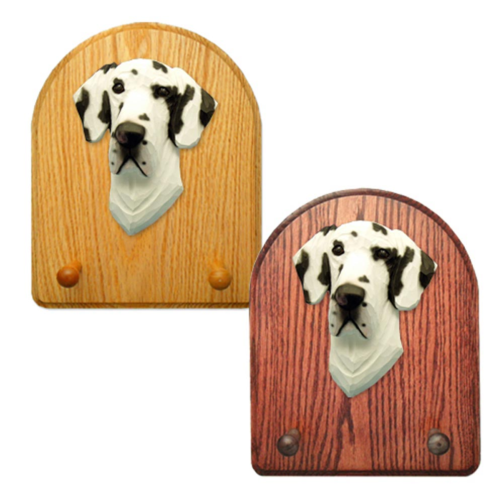 Great Dane Dog Wooden Oak Key Leash Rack Hanger Harlequin Uncropped
