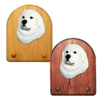 Great Pyrenees Dog Wooden Oak Key Leash Rack Hanger