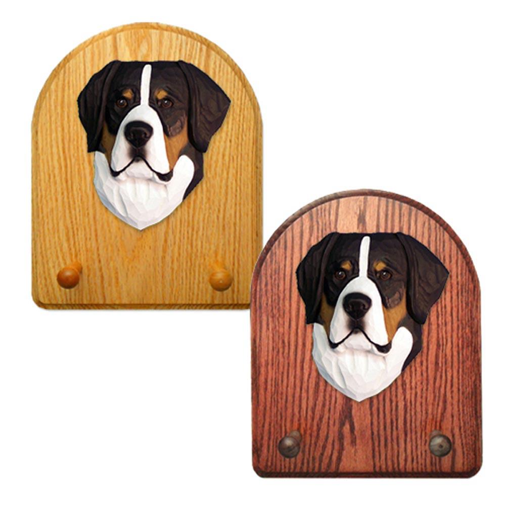 Greater Swiss Mtn. Dog Wooden Oak Key Leash Rack Hanger