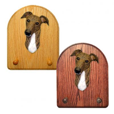 Greyhound Dog Wooden Oak Key Leash Rack Hanger Brindle 1