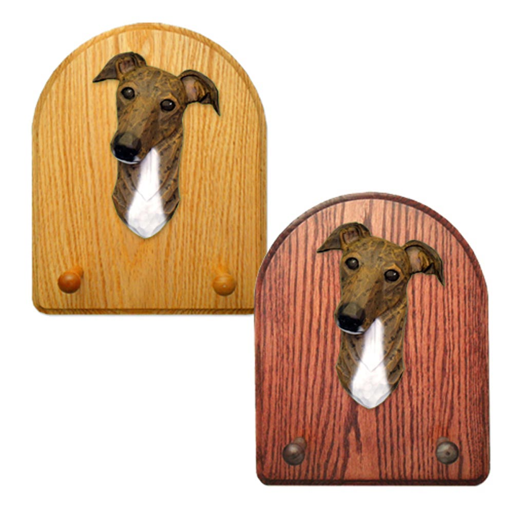 Greyhound Dog Wooden Oak Key Leash Rack Hanger Brindle