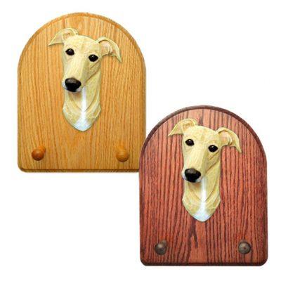 Greyhound Dog Wooden Oak Key Leash Rack Hanger Fawn