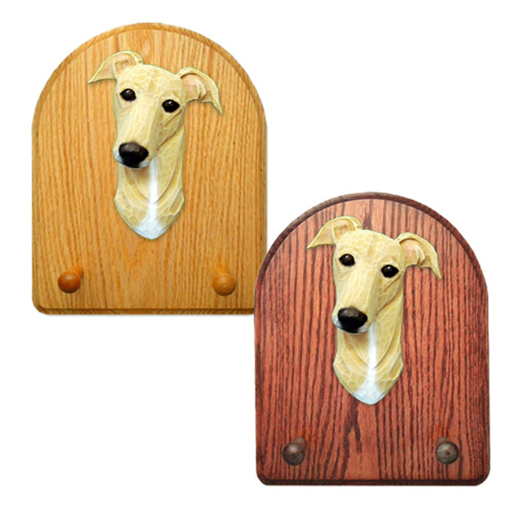 Greyhound Dog Wooden Oak Key Leash Rack Hanger Fawn