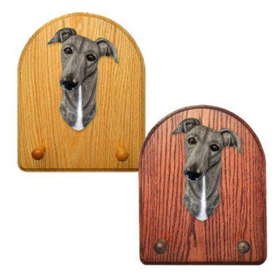 Greyhound Dog Wooden Oak Key Leash Rack Hanger Grey