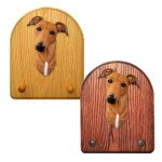 Greyhound Dog Wooden Oak Key Leash Rack Hanger Red