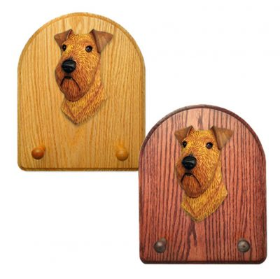 Irish Terrier Dog Wooden Oak Key Leash Rack Hanger 1