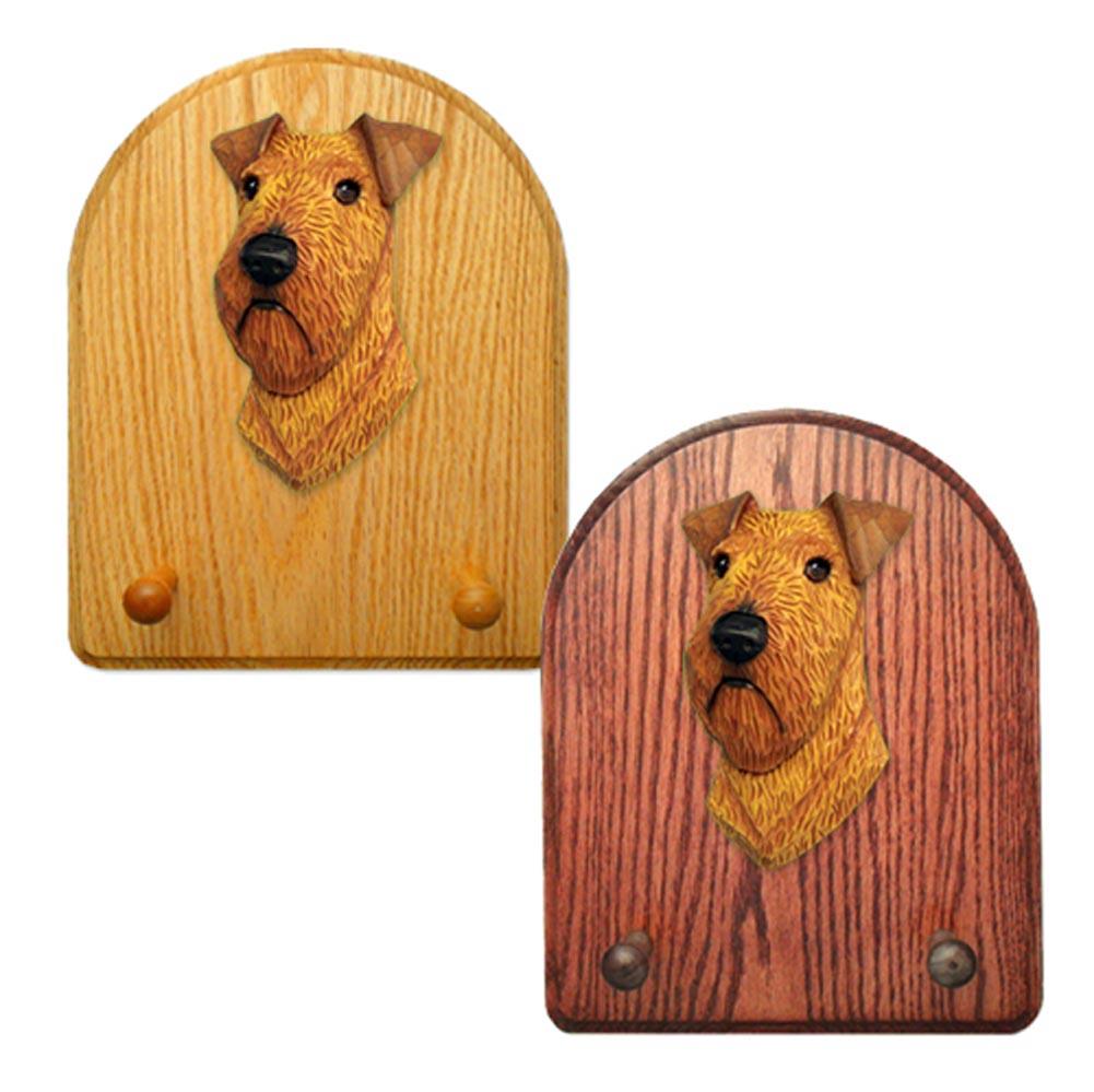 Irish Terrier Dog Wooden Oak Key Leash Rack Hanger