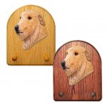 Irish Wolfhound Dog Wooden Oak Key Leash Rack Hanger Fawn