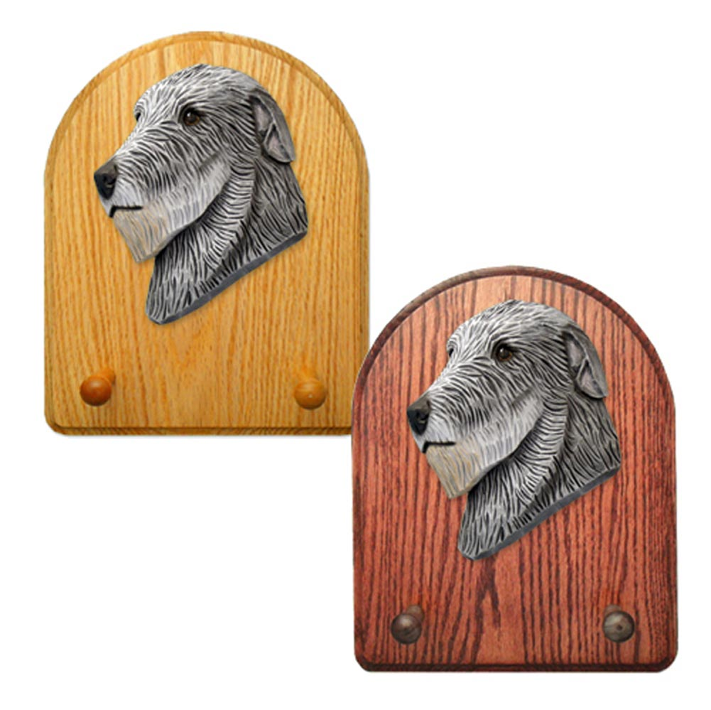 Irish Wolfhound Dog Wooden Oak Key Leash Rack Hanger Grey