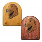 Irish Wolfhound Dog Wooden Oak Key Leash Rack Hanger Red