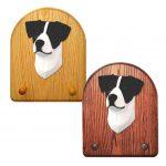 Jack Russell Terrier Dog Wooden Oak Key Leash Rack Hanger Black/White 1