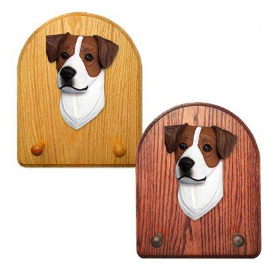 Jack Russell Terrier Dog Wooden Oak Key Leash Rack Hanger Brown/White 1