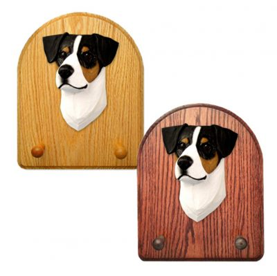 Jack Russell Terrier Dog Wooden Oak Key Leash Rack Hanger Tri 1