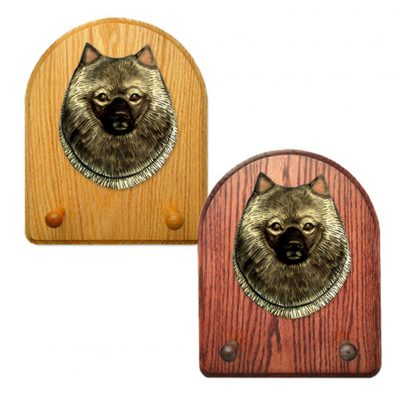 Keeshond Dog Wooden Oak Key Leash Rack Hanger 1