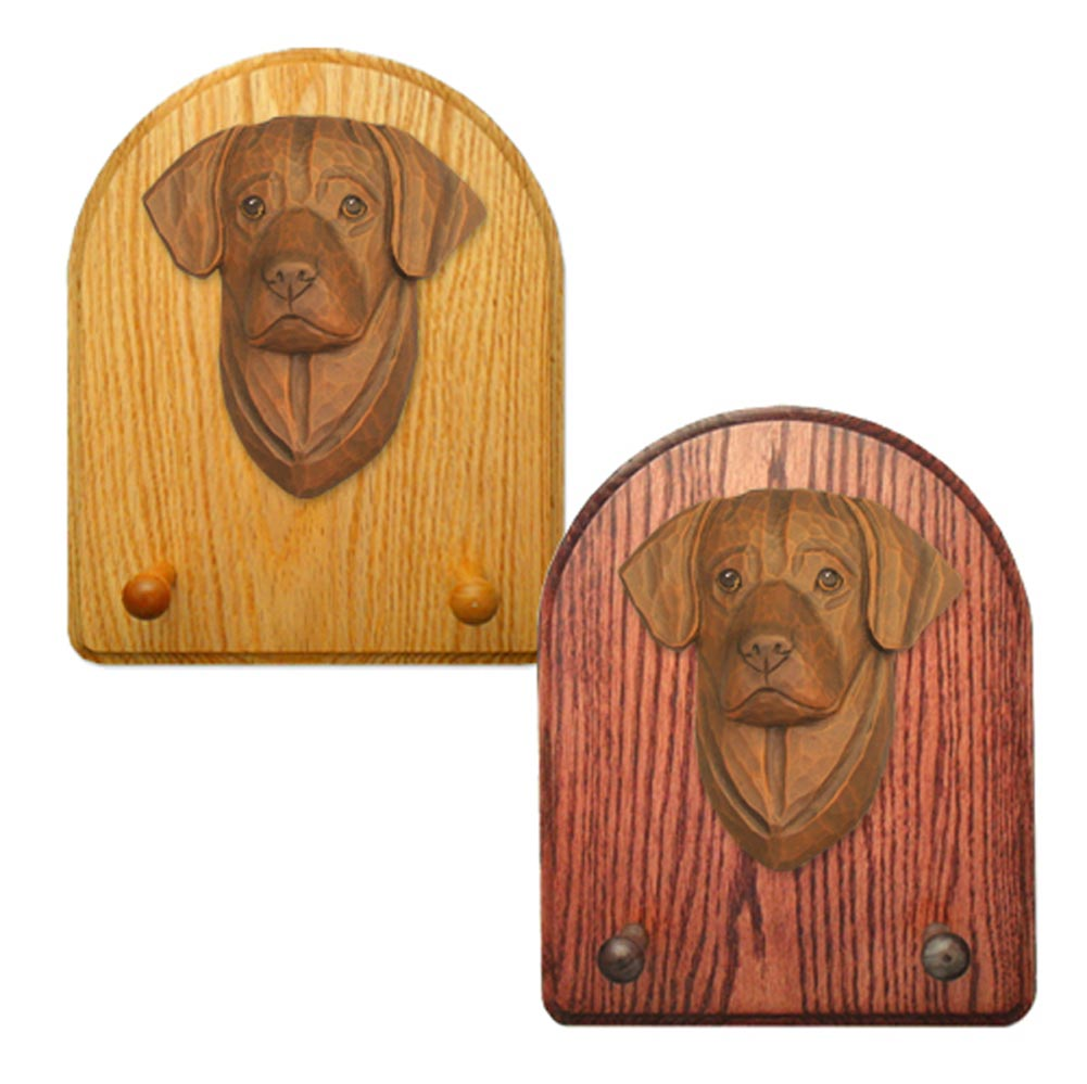 Labrador Retriever Dog Wooden Oak Key Leash Rack Hanger Chocolate