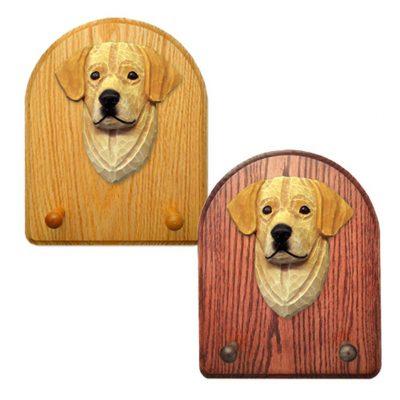 Labrador Retriever Dog Wooden Oak Key Leash Rack Hanger Yellow