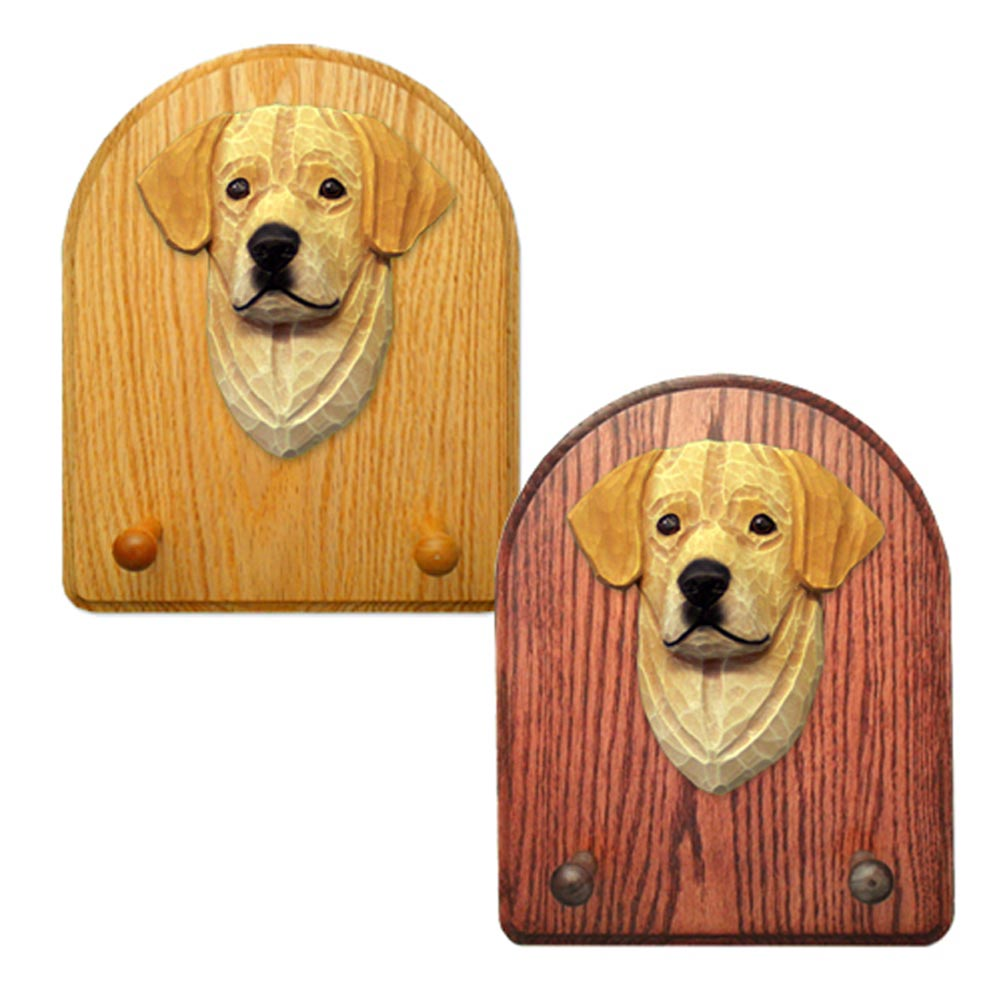 Labrador Retriever Dog Wooden Oak Key Leash Rack Hanger Yellow