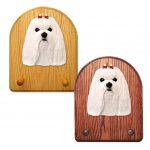 Maltese Dog Wooden Oak Key Leash Rack Hanger