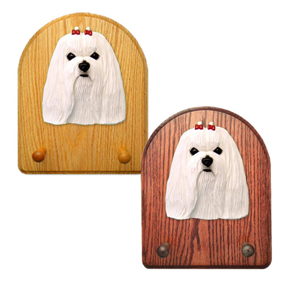 Maltese Dog Wooden Oak Key Leash Rack Hanger