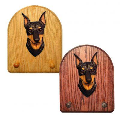 Miniature Pinscher Dog Wooden Oak Key Leash Rack Hanger Black/Tan 1