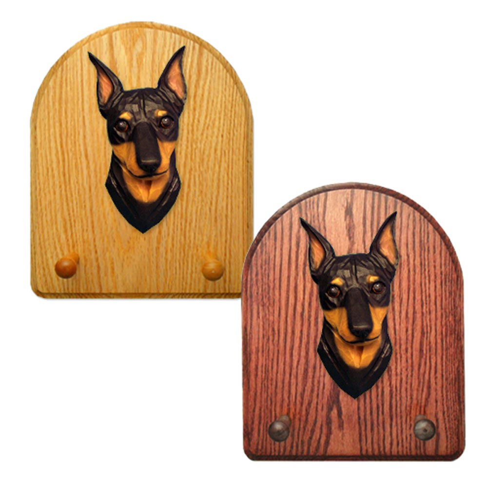 Miniature Pinscher Dog Wooden Oak Key Leash Rack Hanger Black/Tan