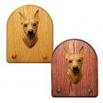 Miniature Pinscher Dog Wooden Oak Key Leash Rack Hanger Red