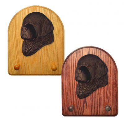Newfoundland Dog Wooden Oak Key Leash Rack Hanger Black 1
