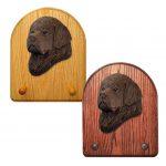 Newfoundland Dog Wooden Oak Key Leash Rack Hanger Brown