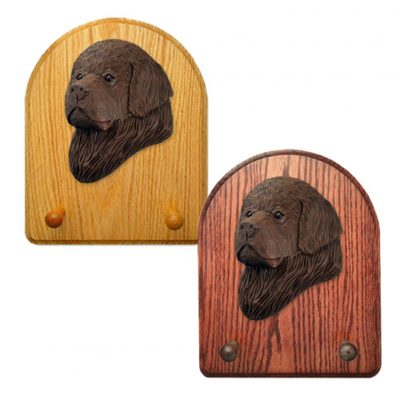 Newfoundland Dog Wooden Oak Key Leash Rack Hanger Brown 1