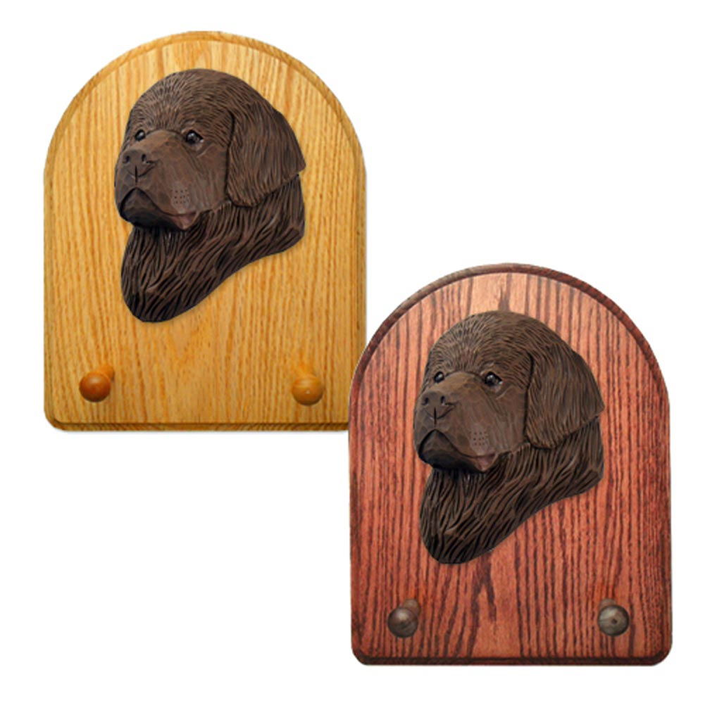 Newfoundland Dog Wooden Oak Key Leash Rack Hanger Brown