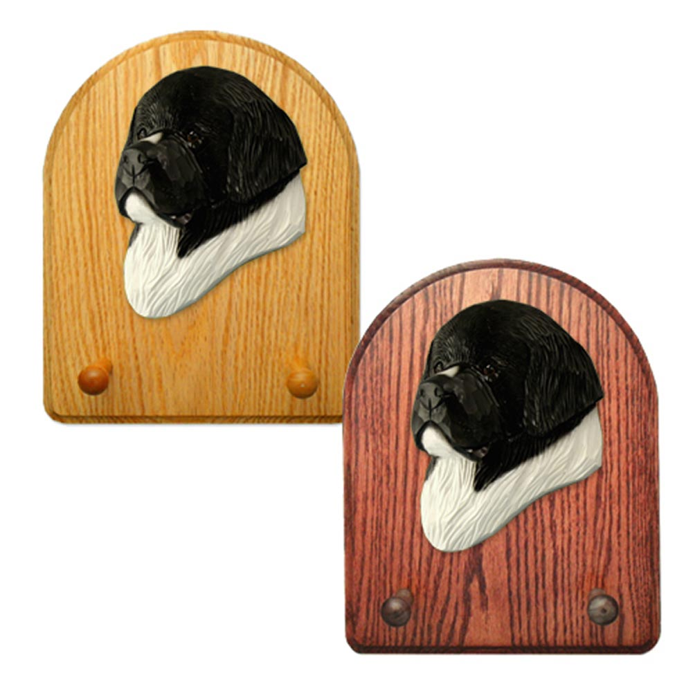 Newfoundland Dog Wooden Oak Key Leash Rack Hanger Landseer